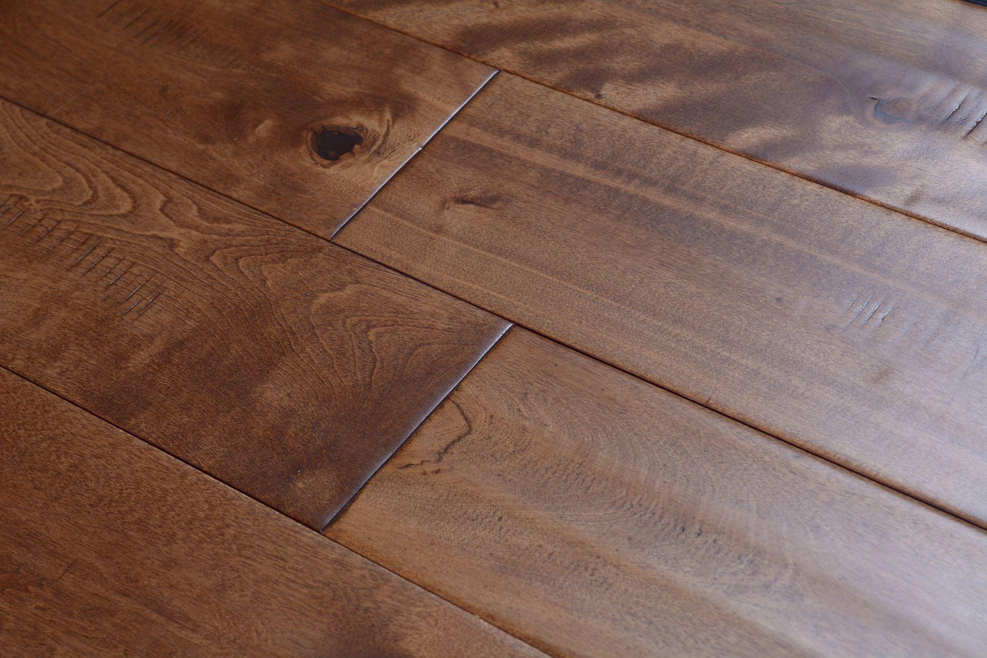 Elegant home solid handscraped 5 inch golden sand bog 5382 for Direct hardwood flooring