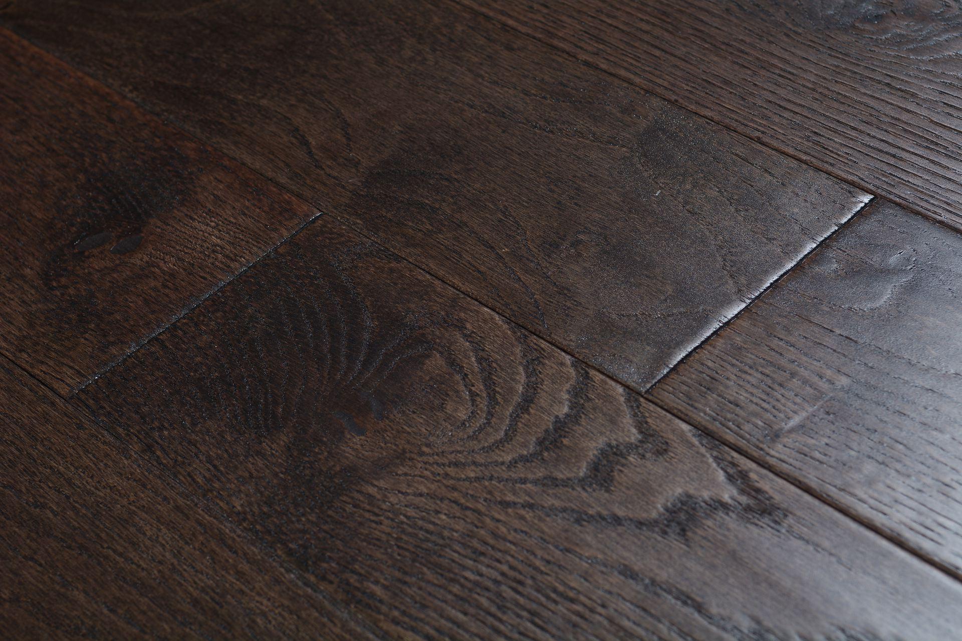Elegant home solid handscraped 5 inch river rock bog 5336 for Direct hardwood flooring